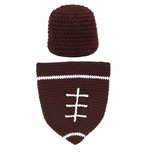 Baby Boy Crochet Football Beanie & Cocoon Set Party Costume Hat Photo Props