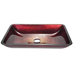 Kraus Irruption Red Rectangular Tempered Glass Bathroom Vanity Vessel Sink Bowl Basin