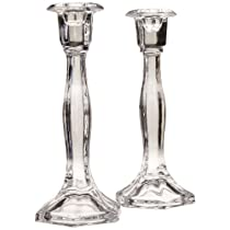Biedermann & Sons Candle/Taper Holders Set of 2 Faceted Clear Glass 9.13-Inch Tall