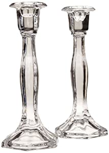 Biedermann & Sons Candle/Taper Holders, Set of 2 Faceted Clear Glass, 9.13-Inch Tall