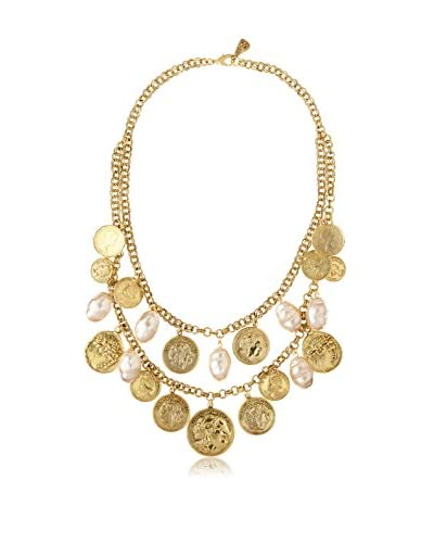 Yochi Vintage Coin and Baroque Pearl Necklace