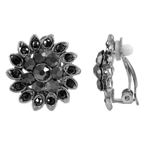 Agatha's Grey Rhinestone Clip On Earrings - Silver Tone