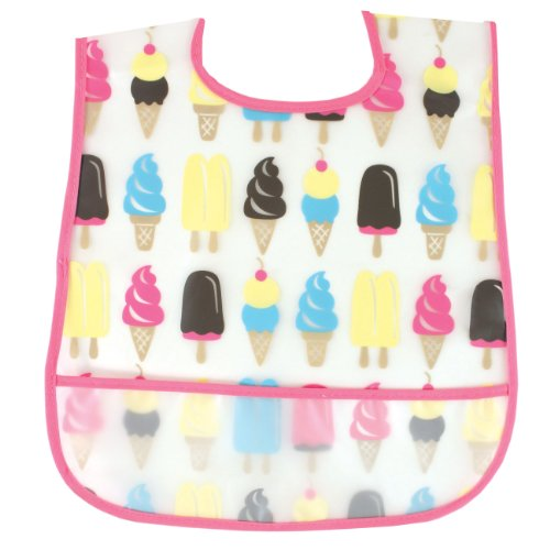 Luvable Friends Waterproof Feeder Bib with Crumb Catcher Pocket, Ice Cream