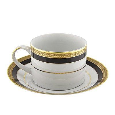 Sahara Black 8 oz. Teacup and Saucer [Set of 6]