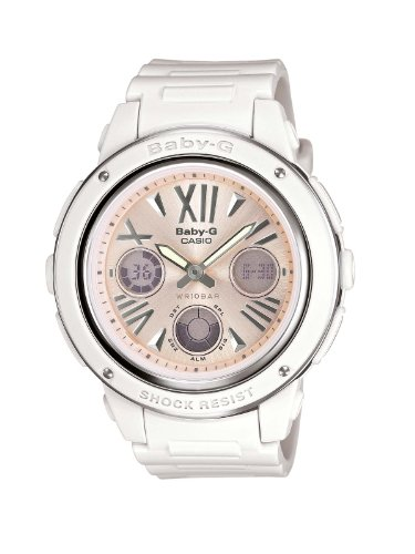 BABY-G Women's Quartz Watch with Pink Dial Analogue - Digital Display and White Resin Strap BGA-152-7B2ER