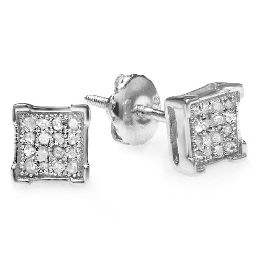 0.10 Carat (ctw) Platinum Plated Sterling Silver Diamond V Prong Square Shape Mens Hip Hop Iced Stud Earrings