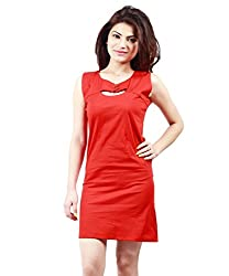 NIROSHA Cotton Solid Dress for Women -DRS1019_Red_L