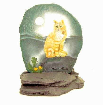New Resin Art Shale Rock Painted Slab Tabby Cat Figurine (Painted Rocks compare prices)