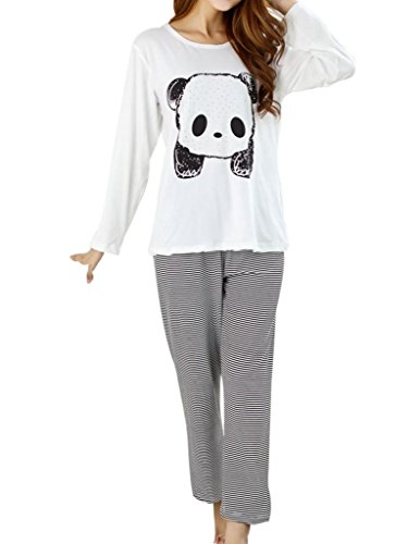VENTELAN Women's Cute Panda Striped Long Sleeve Sleepwear Pajama Set Nighty (Asian S(USA Size:0), Panda White)