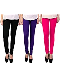 Snoogg Womens Ethnic Chic Inspired Churidar Leggings In Black, Purple And Pink