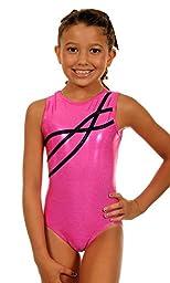 TumbleWear Girl\'s Leotard Sophia | Hot Pink Sparkle-Child: 10-12