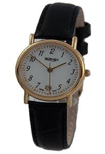 GB11103 - Bernex Ladies Gold Plated Wrist Watch, Quartz, White Arabic Dial, With Date