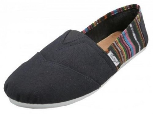 EasySteps Women's Canvas Slip-On Shoes with Padded Insole,8 B(M) US,Black with Patterned back
