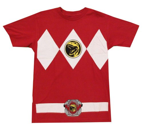 Mighty Morphin Power Rangers Red Ranger Costume Mighty Fine Cartoon Adult Tee