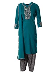 Turquoise Green Fine Cotton Kameez With White Resham And Black Outlined Embroidered Salwar Suit