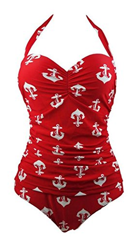 Elady Sexy One Piece Monokini Bathing Swimsuit Women Beachwear Red (L)