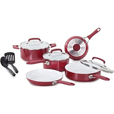 Nonstick WearEver Pure Living 10-Piece Cookware Set, Red Ceramic Finish