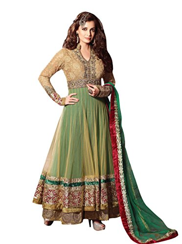 indian Dia Mirza Incredible Velvet Bordered Anarkali Suit By Triveni