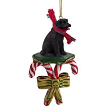 Black Lab Candy Cane Christmas Ornament