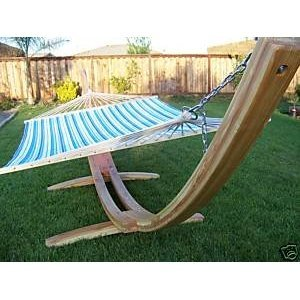 Wooden Arc Hammock Stand + Quilted Double Hammock, Double Padded. Natural Finish. 2 Person Bed.