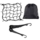 YOROYAL 15X15in Motorcycle ATVs Elastic Cargo Nets with 23in Helmet Luggage Bungee Cord, 13x16in Drawstring Backpack Organizer Bag for Sport Gym Traveling