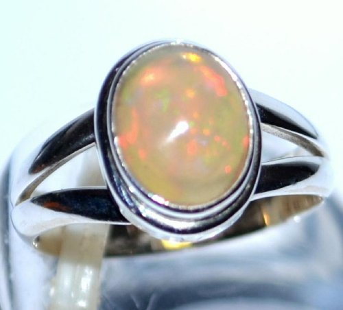 Solid Sterling Silver Natural Fiery Opal Solitaire Ring - Size J - Finger Sizes J to T - New Gift, Handmade, October Birthstone, Ladies Rings