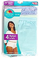 Fruit of the Loom Fit for Me Plus Size 4 Pieces Nylon Briefs Assorted Color