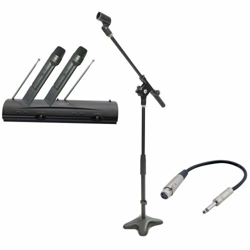 Pyle Mic And Stand Package - Pdwm2100 Professional Dual Vhf Wireless Handheld Microphone System - Pmks7 Compact Base Microphone Stand - Ppfmxlr01 12 Gauge 6 Inch 1/4'' To Xlr Female Cable