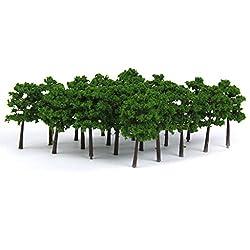 Generic Plastic Model Trees Train Railroad Scenery 1:250 40pcs Dark Green