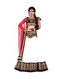 White World Womens Fabric Net Lehenga Choli ( 303_Black-White_Freesize )