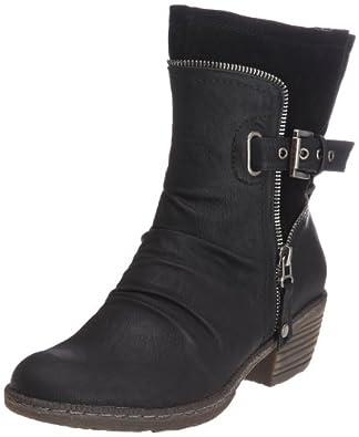 Rieker 93761-01, Damen Halbschaft Cowboystiefel, Schwarz (schwarz/schwarz / 01), 36 EU (3.5 Damen UK)