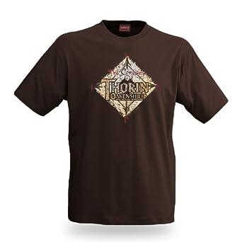 Hobbit - An Unexpected Journey Film T-Shirt Thorin Eichenschild, lizenziert, großes Thorin Logo, Baumwolle, braun - S