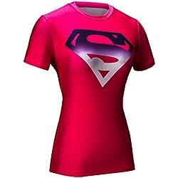 Cody Lundin® mujeres Impresión 3D Digital Superman Ejercicio Fitness y compresión manga corta camiseta ,para Yoga ejecutando deportes (M, Rose)