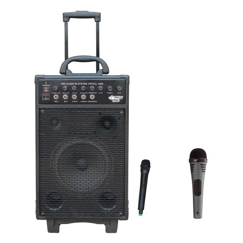 Pyle Speaker And Mic System Package - Pwma1050 800 Watt Vhf Wireless Battery Powered Pa System W/Echo/Ipod/Mp3 Input Jack - Pdmik2 Professional Moving Coil Dynamic Handheld Microphone