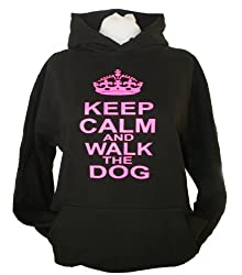 Black hoodie with hot pink writing 'KEEP CALM AND WALK THE DOG'