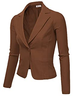 9XIS Womens Boyfriend Blazer,Brown,Small
