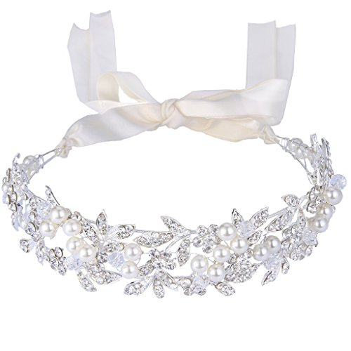 JoinMe Women's Bohemian Crystal Ivory Color Simulated Pearl Bib Ribbon Tie Bendable Hair Band Silver-Tone