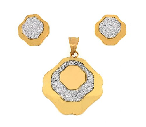 Ladies Two Tone Stainless Steel Shiny Designer Flower Pendant And Earrings Fashion Set