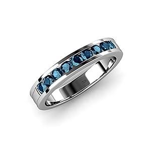 Blue Diamond 9 Stone Wedding Band 0.36 ct tw in 14K White Gold.size 7.0