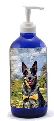 Blue Heeler - Australian Cattle Dog- Cobalt Blue Glass Soap-Lotion Dispenser front-22330