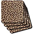 Lee Hiller Designs RAB Rockabilly - RAB Rockabilly Brown and Tan Leopard Print - Coasters
