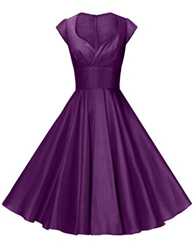 GownTown Womens Dresses Party Dresses 1950s Vintage Dresses Swing Stretchy Dresses, Purple, Large