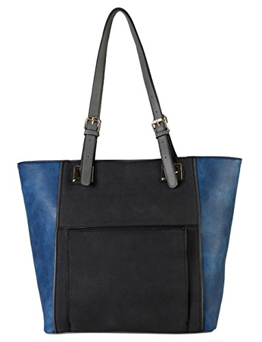 diophy-high-quanlity-pu-leather-front-pocket-two-tone-large-tote-womens-purse-handbag-cl-3504-black