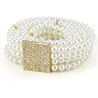 TopTie Rhinestone Buckle Faux Pearl Stretch Waist Belt