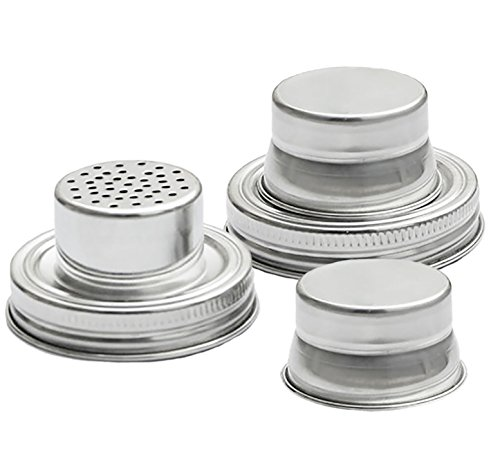 Mason Jar Shaker Lids - 2 Pack - Use to Shake Drinks and Cocktails or for Dry Rub - Mix Peppers, Spices, Dredge Flour & More - Size Fits Any Regular Mouth Canning Jar - Stainless Steel, Rust Proof (Wood Stove Gasket 1 2 compare prices)