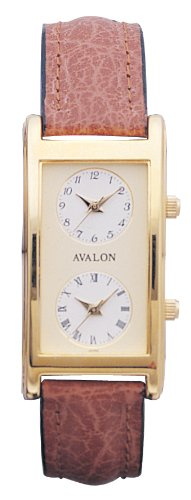 Avalon Unisex Gold Tone World Traveler Dual Time Zone Strap Watch # 7077
