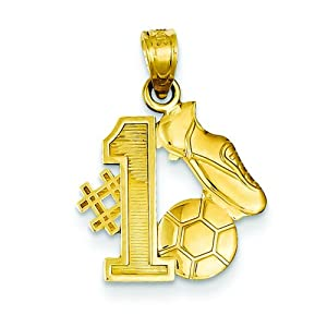 14K Gold #1 Soccer Player Cleats & Ball Charm Pendant