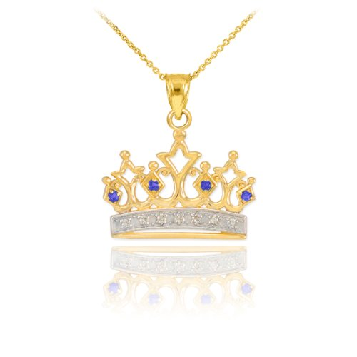 Royal 10k Yellow Gold Blue Sapphire and Diamond Tiara Charm Crown Pendant Necklace, 18
