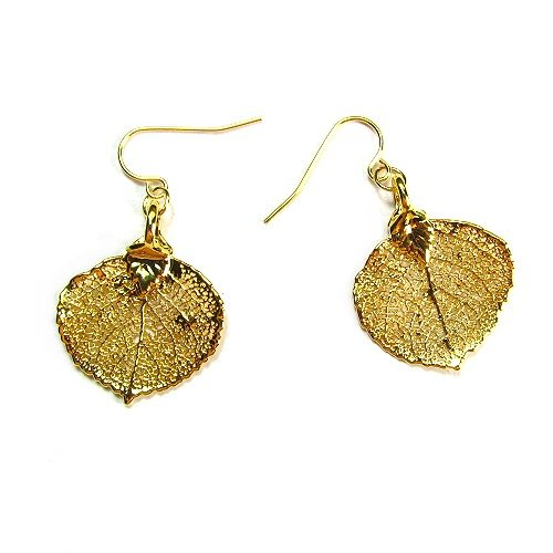24k Gold Lace Real Aspen Leaf Wire Dangle Earrings