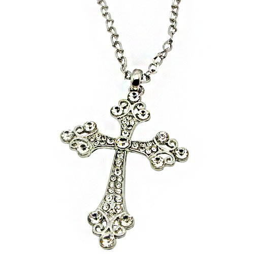 Tungsten Love Fashion Celtic Cross Pendant Cubic Zirconia Long Sweater Necklace